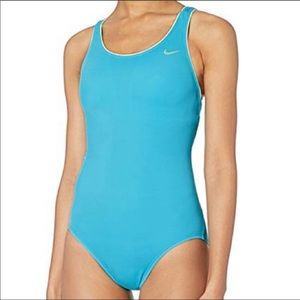 Nike Blue Solid Power back One Piece Swimsuit